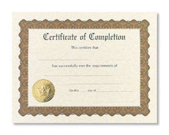 Certificate of Completion  -  6 sheet pack