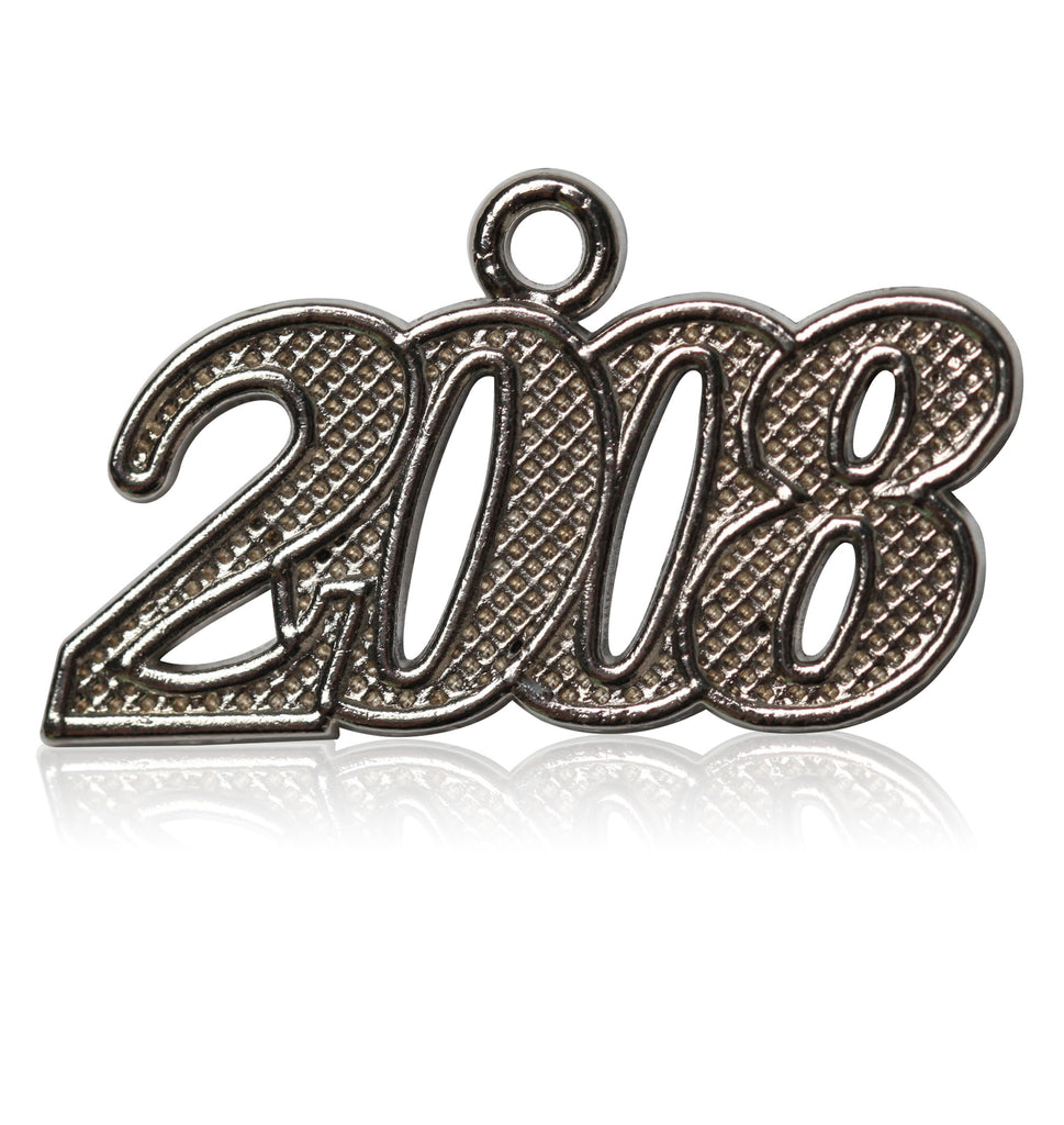 Year 2008 Silver Drop Date Signet for Graduation Tassel