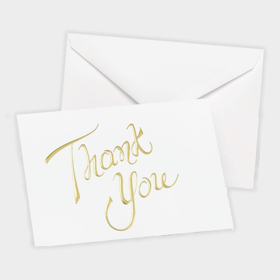 White Thank You Note Cards with Gold Foil Thank You - 20 pack