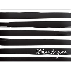 Brush Stripes Thank You Note- Black-  10 Count