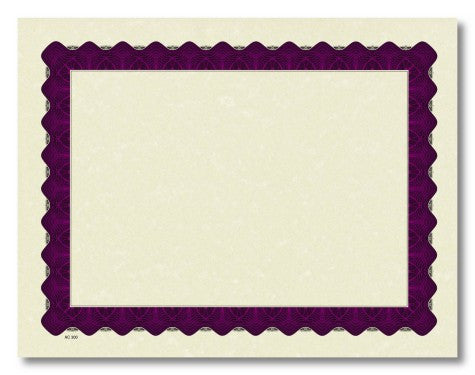 Metallic Purple Parchment Certificates  -100 Count