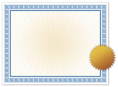 Westminster Blue Certificate with Gold Foil Seal  --  25 Count