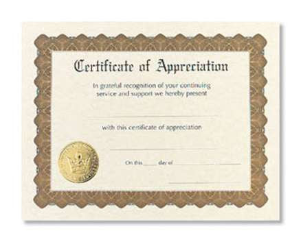 Certificate of Appreciation  -  6 sheet pack