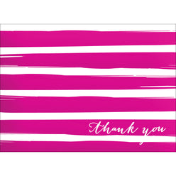 Brush Stripes Thank You Note- Pink-  10 Count