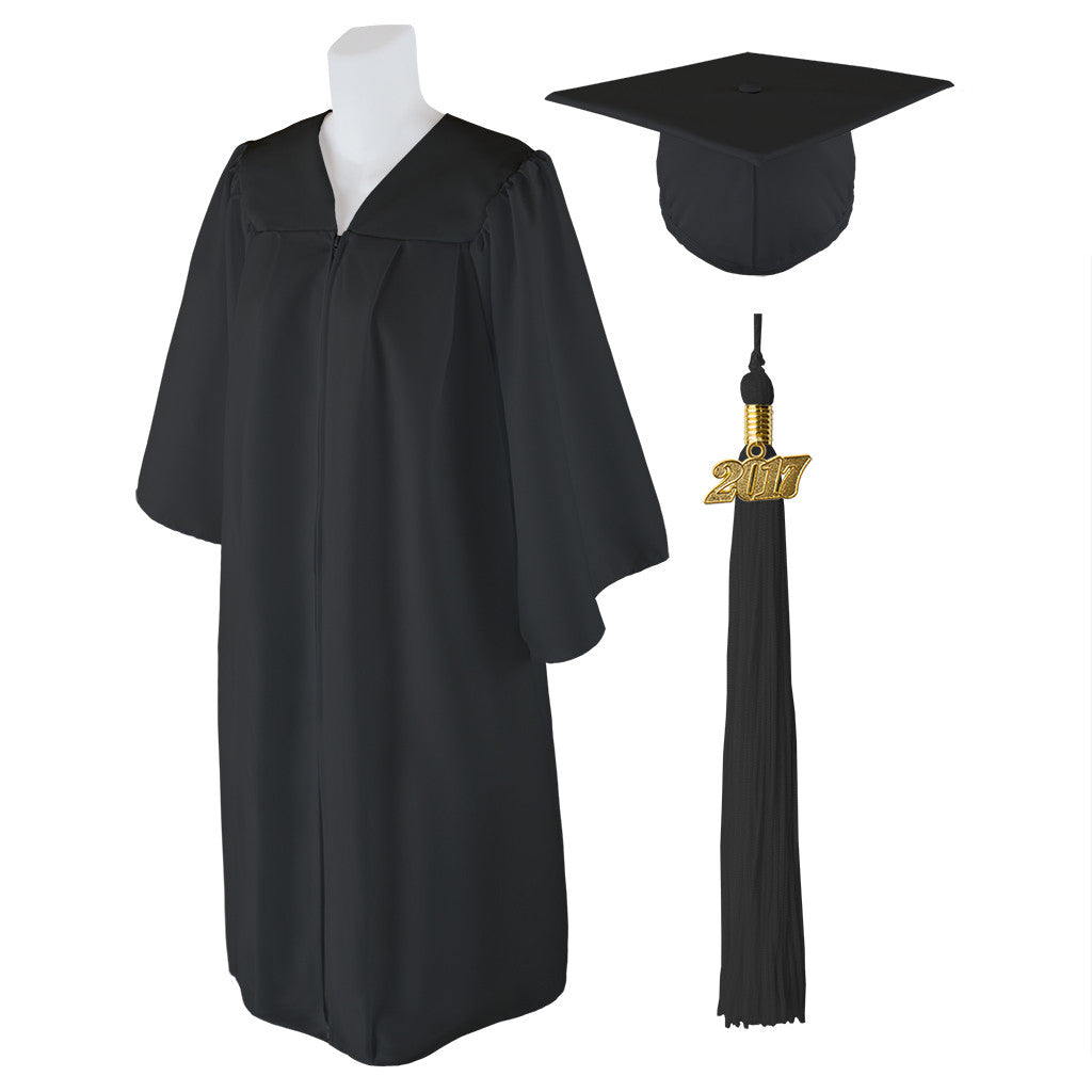 "Standard Matte Graduation Cap and Gown with Matching 2017 Tassel - Size  6'0""-6'2"""
