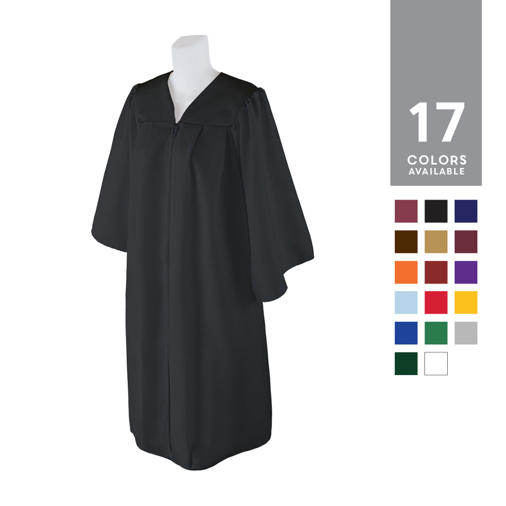 Unisex Matte Graduation Gown Or Choir Robe, Multiple Colors, Medium