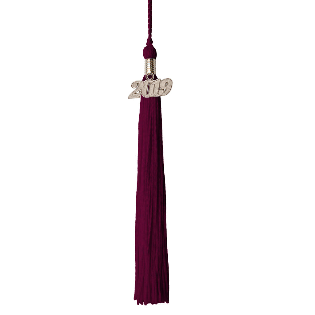 Premium 65 Strand Graduation Tassel with 2018 Silver Charm, Single Color Tassel Options