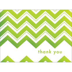 Chevron Thank You Note- Green-  10 Count