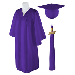 "Standard Matte Graduation Cap and Gown with Matching 2017 Tassel - Size  4'9""-4'11"""