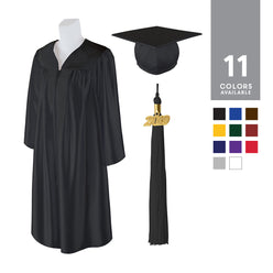 Adult Unisex Shiny Graduation Cap and Gown with Matching 2019 Tassel, Medium