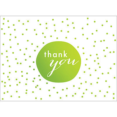 Tiny Dots Thank You Note- Green-  10 Count