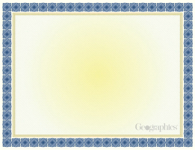 Kensington Blue & Gold Foil Certificate  -  15 Count