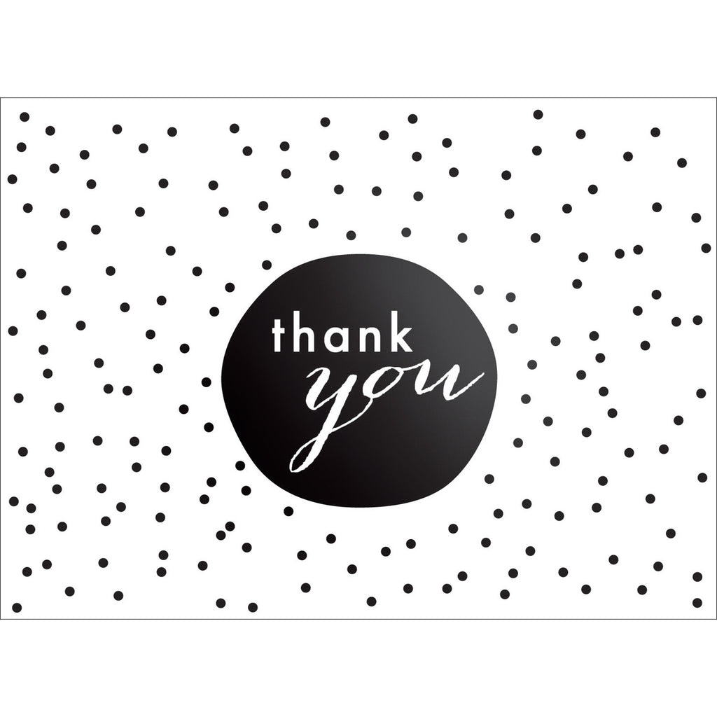 Tiny Dots Thank You Note- Black-  10 Count