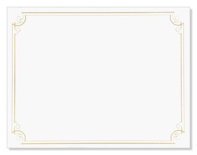 Golden Scroll Frame Foil Certificate  -  12 Count