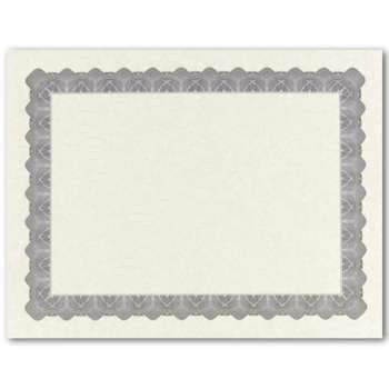 Metallic Silver Parchment Certificate  -  25 Count