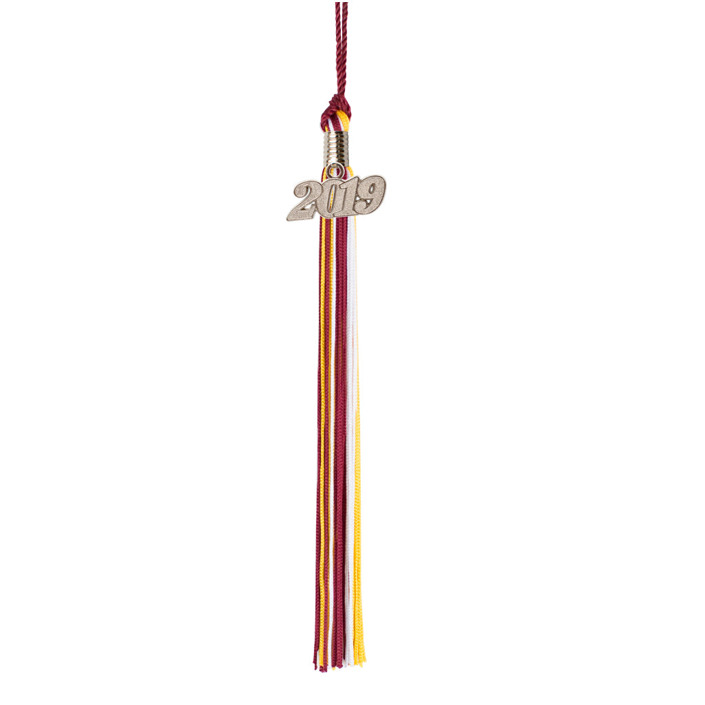 Premium 65 Strand Graduation Tassel with 2019 Silver Charm, Tri-Color Tassel Options