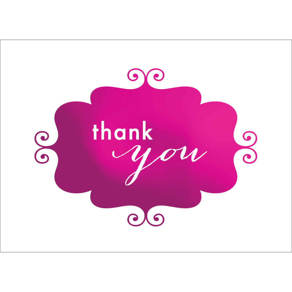 Banner Thank You Note- Pink-  10 Count