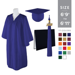 "Standard Matte Graduation Cap, Gown and DIPLOMA Cover with Matching 2018 Tassel - Size  6'9""-6'11"""