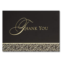 Golden Damask Thank You  - 25 Cards and Envelopes
