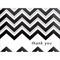Chevron Thank You Note- Black-  10 Count