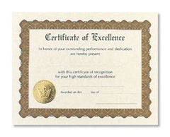 Certificate of Excellence  -  6 sheet pack