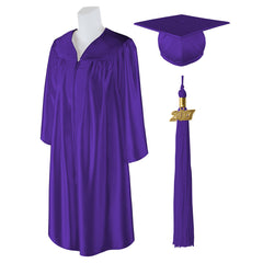 "Standard Shiny Graduation Cap and Gown with Matching 2017 Tassel - Size  7'0""-7'2"""