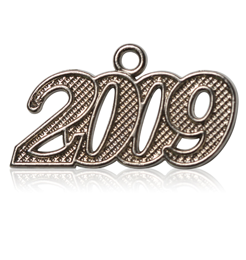 Year 2009 Silver Drop Date Signet for Graduation Tassel