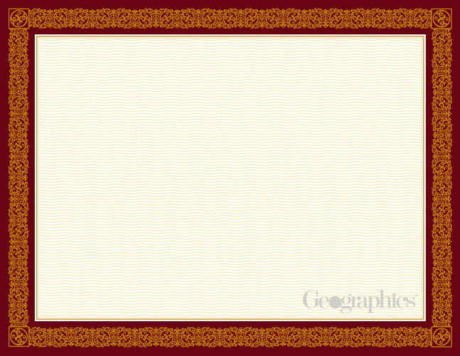 Burgundy & Gold Foil Certificates  15 Sheet Pack