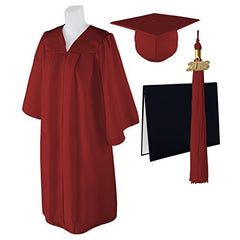 "Standard Matte Graduation Cap, Gown and DIPLOMA Cover with Matching 2018 Tassel - Size  6'6""-6'8"""