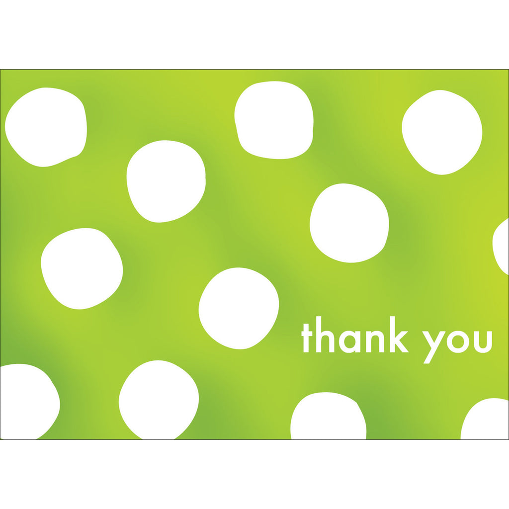 Big Dots Thank You Note- Green-  10 Count