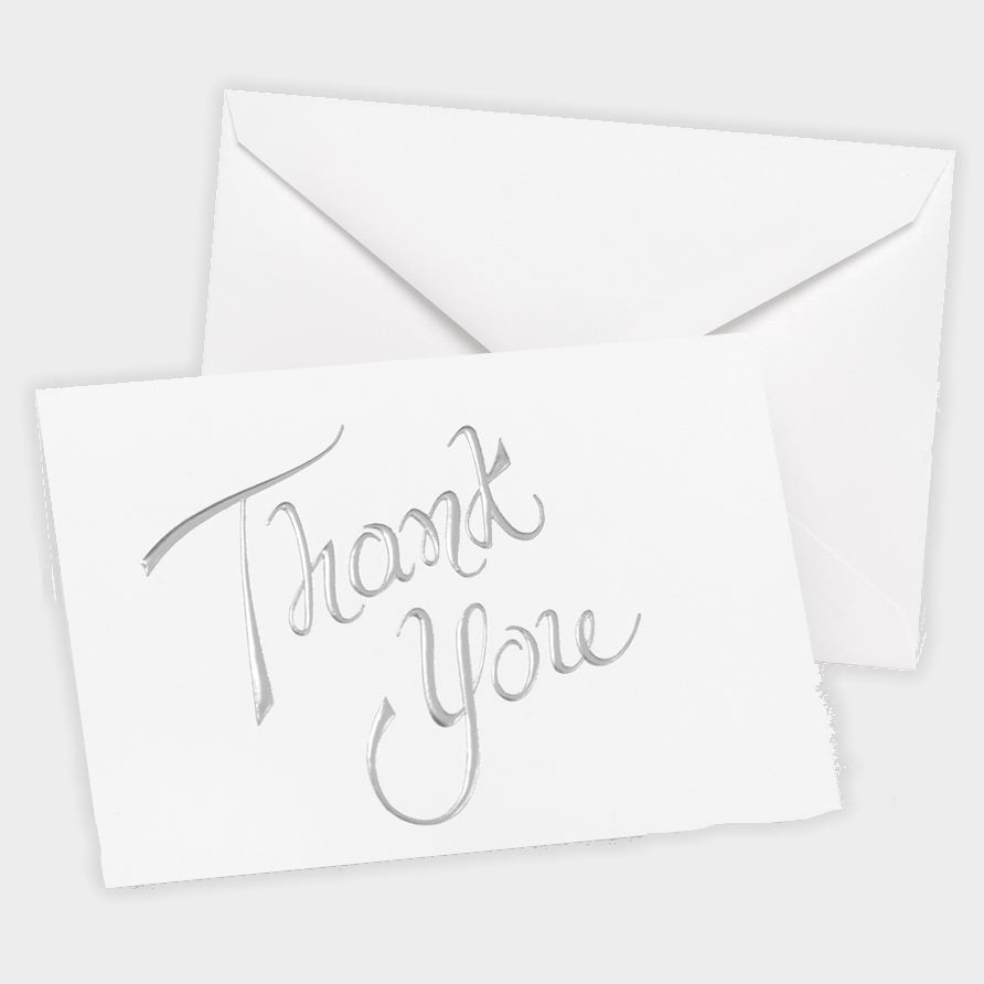 White Thank You Note Cards with Silver Foil Thank You - 20 pack