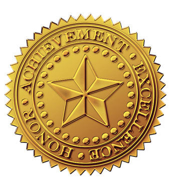 Gold Foil Emb. Star Certificate Seal  -  48 Count
