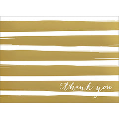 Brush Stripes Thank You Note- Gold-  10 Count