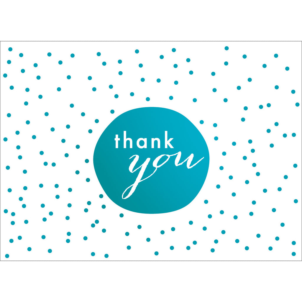 Tiny Dots Thank You Note- Blue-  10 Count