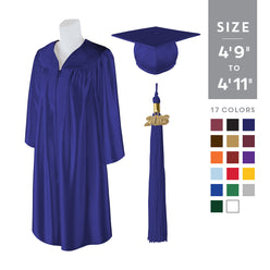 "Standard SHINY Graduation Cap and Gown with Matching 2018 Tassel - Size  4'9""-4'11"""