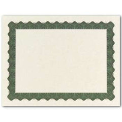 Metallic Green Parchment Certificate  --  25 Count