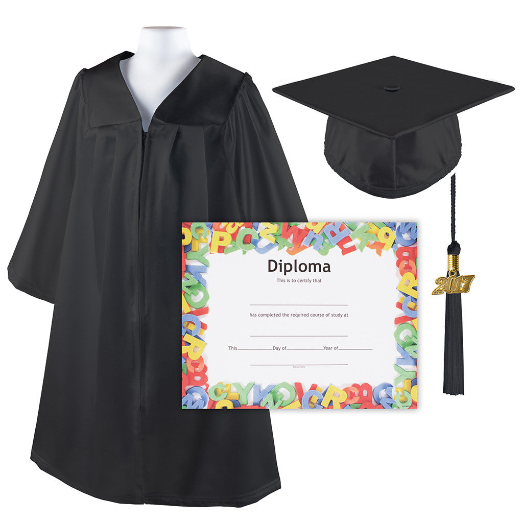 Kindergrad Graduation Cap and Gown Set with Diploma and Tassel -Size ...