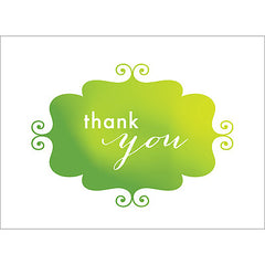 Banner Thank You Note- Green-  10 Count