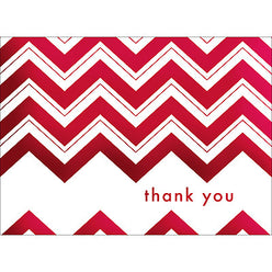 Chevron Thank You Note- Red-  10 Count