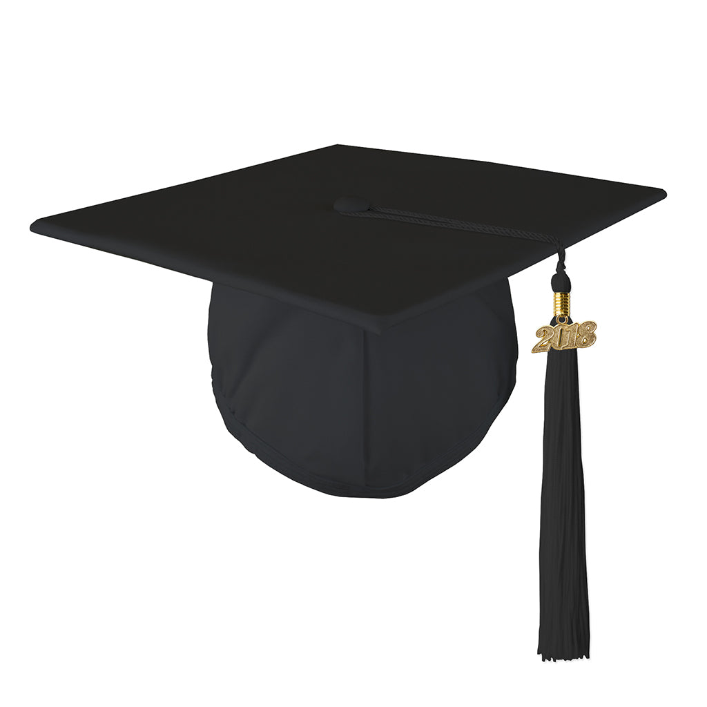 Matte Mortar Board Graduation Cap and Matching 2018 Tassel