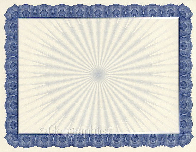 Braided Blue Certificate  25 Sheet Pack