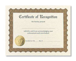 Certificate of Recognition  -  6 sheet pack