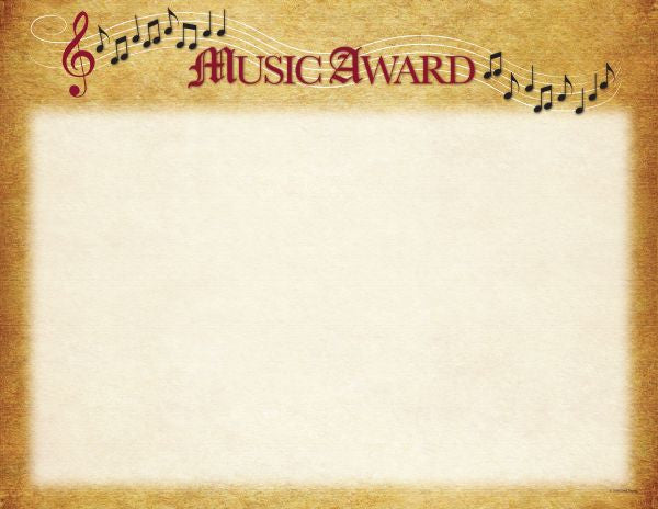 Music Award Certificate  -  25 Count