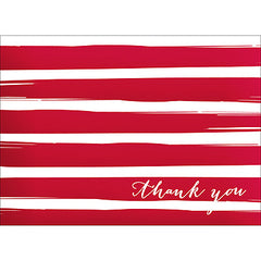 Brush Stripes Thank You Note- Red-  10 Count