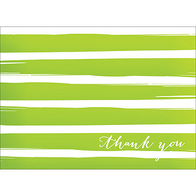 Brush Stripes Thank You Note- Green-  10 Count