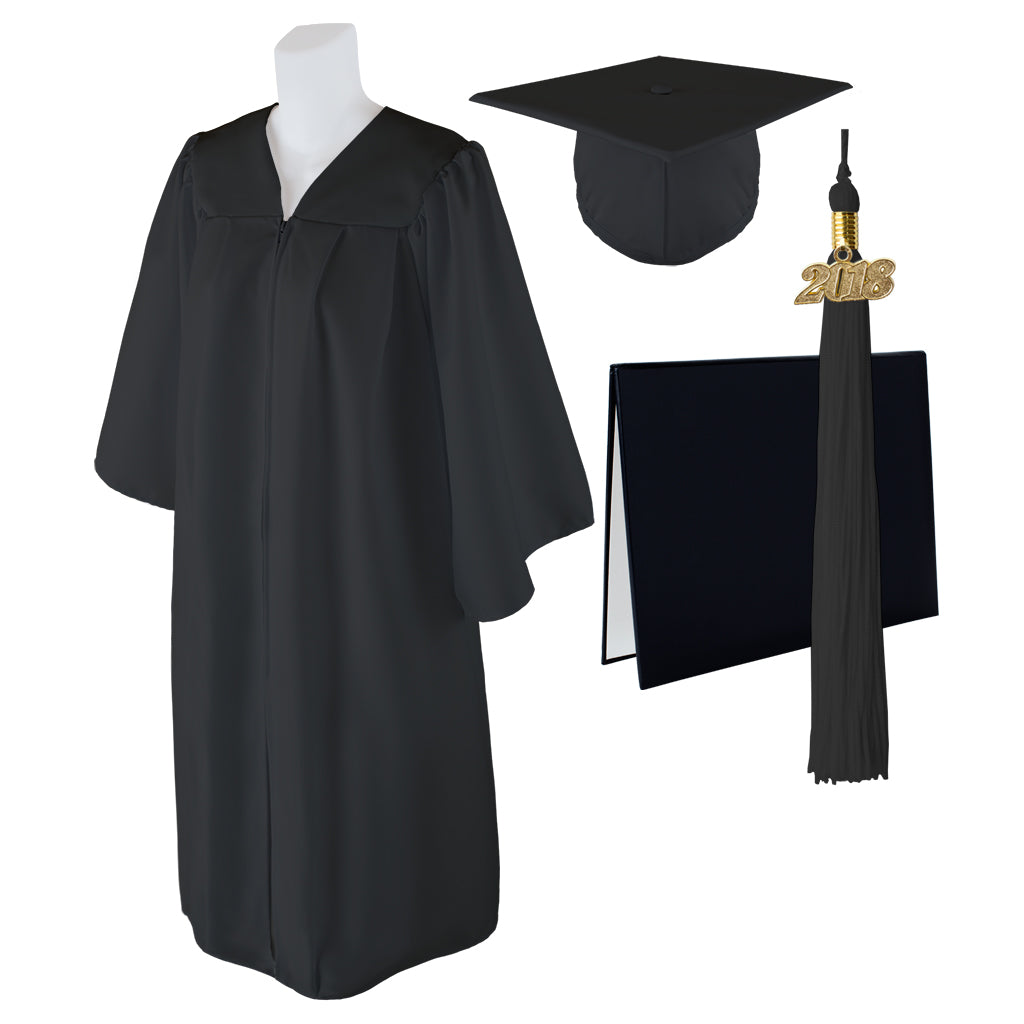 "Standard Matte Graduation Cap, Gown and DIPLOMA Cover with Matching 2018 Tassel - Size  4'6""-4'8"""