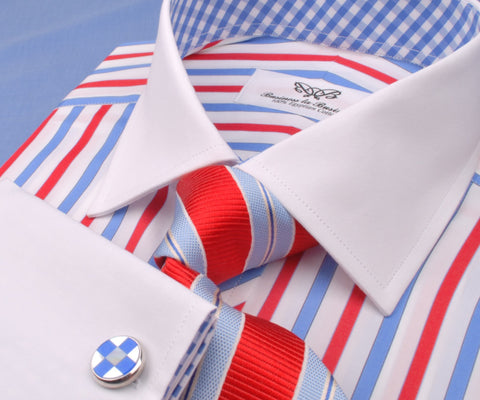 B2B Shirts - Patriot Red White Blue Formal Business Dress Shirt Gingham Check Fashion - Business to Business