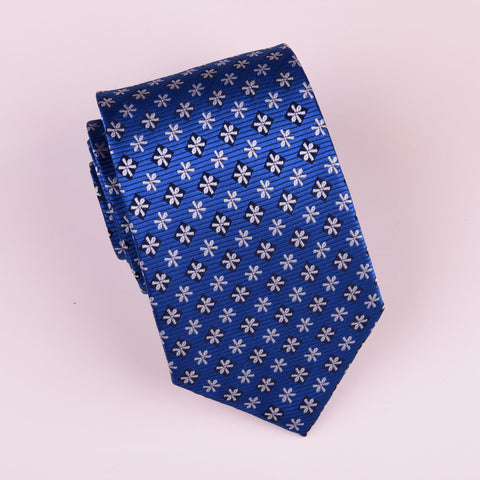 Blue Floral Skinny Woven Tie with Snowflake Daisies Luxury Fashion 3""
