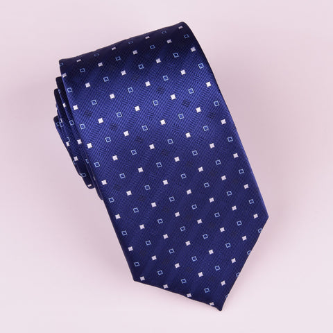 "B2B Shirts - Navy Blue Herringbone Twill Skinny Tie with Contrast Studs Luxury Fashion 3"" - Business to Business"