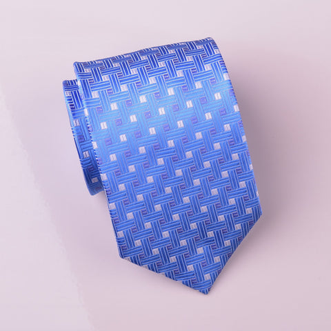B2B Shirts - Light Blue Designer Basketweave Neat Geometric Regular Woven Tie 8cm - Business to Business